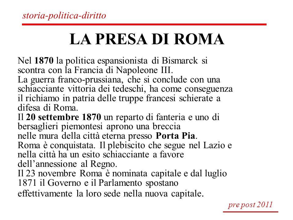 LA PRESA DI ROMA Nel 1870 la politica espansionista di Bismarck si scontra con la Francia di Napoleone III. La guerra franco-prussiana, che si conclud