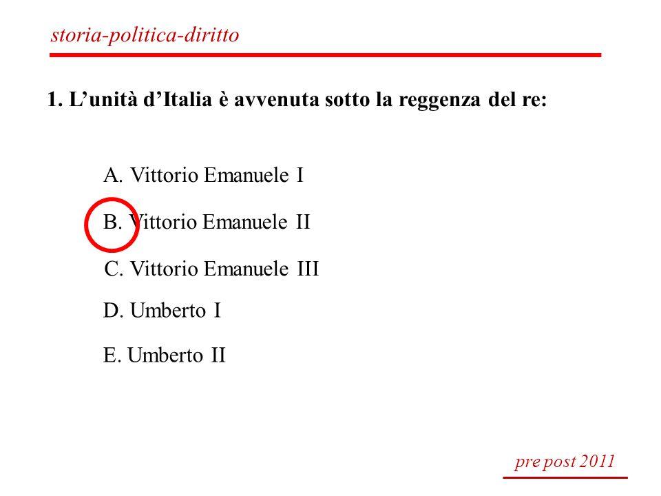 1. Lunità dItalia è avvenuta sotto la reggenza del re: A. Vittorio Emanuele I B. Vittorio Emanuele II C. Vittorio Emanuele III D. Umberto I E. Umberto