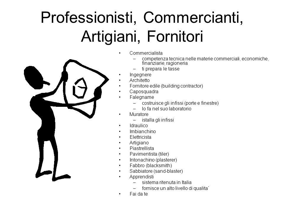 Professionisti, Commercianti, Artigiani, Fornitori Commercialista –competenza tecnica nelle materie commerciali, economiche, finanziarie, ragioneria –