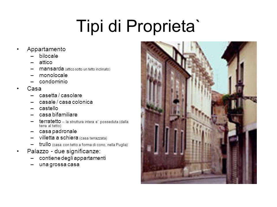 Tipi di Proprieta` Appartamento –bilocale –attico –mansarda (attico sotto un tetto inclinato) –monolocale –condominio Casa –casetta / casolare –casale