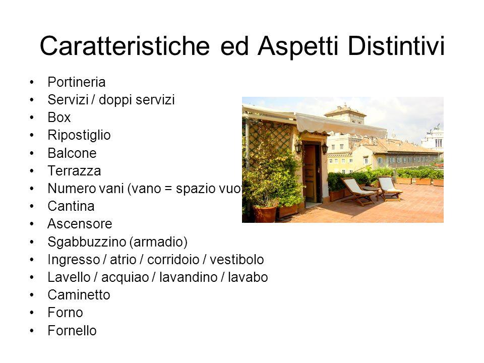 Caratteristiche ed Aspetti Distintivi Portineria Servizi / doppi servizi Box Ripostiglio Balcone Terrazza Numero vani (vano = spazio vuoto) Cantina As
