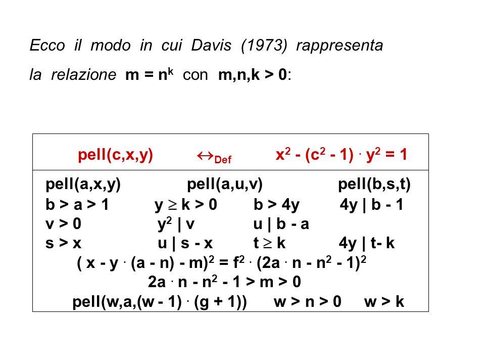 Ecco il modo in cui Davis (1973) rappresenta la relazione m = n k con m,n,k > 0: pell(c,x,y) Def x 2 - (c 2 - 1). y 2 = 1 pell(a,x,y) pell(a,u,v) pell