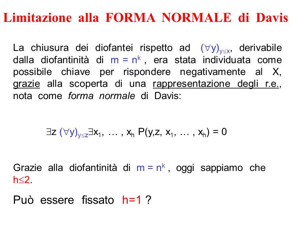 Limitazione alla FORMA NORMALE di Davis La chiusura dei diofantei rispetto ad ( y) y x, derivabile dalla diofantinità di m = n k, era stata individuat