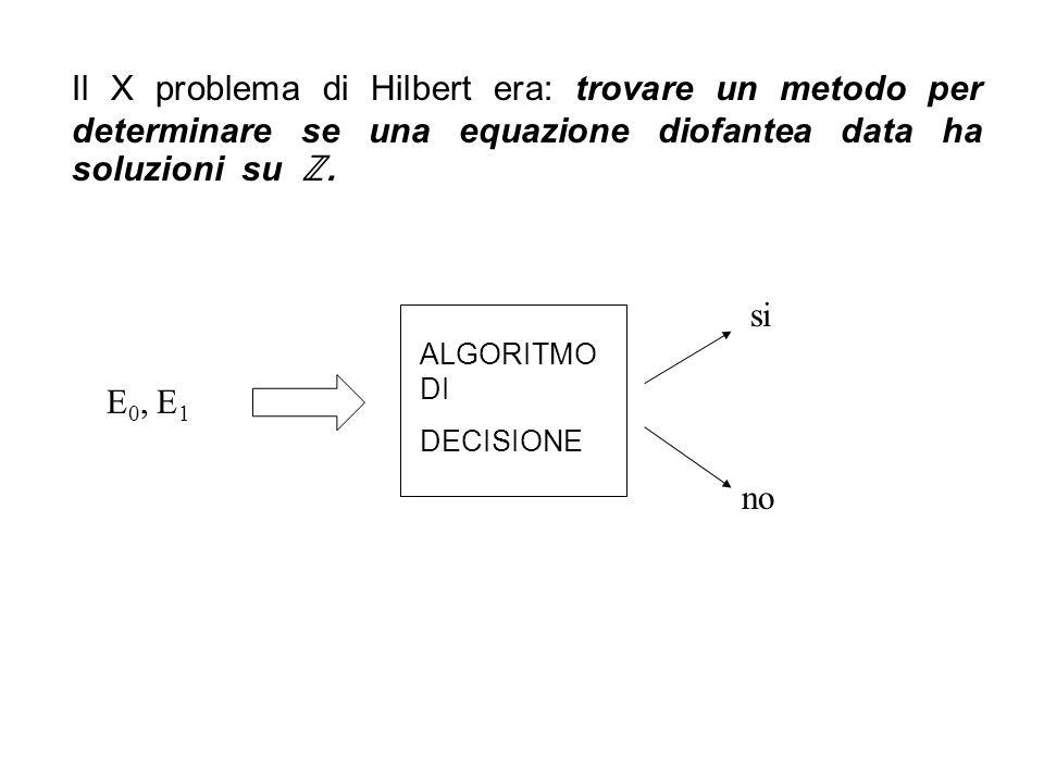 ALGORITMO DI DECISIONE Il X problema di Hilbert era: trovare un metodo per determinare se una equazione diofantea data ha soluzioni su. E 0, E 1 si no