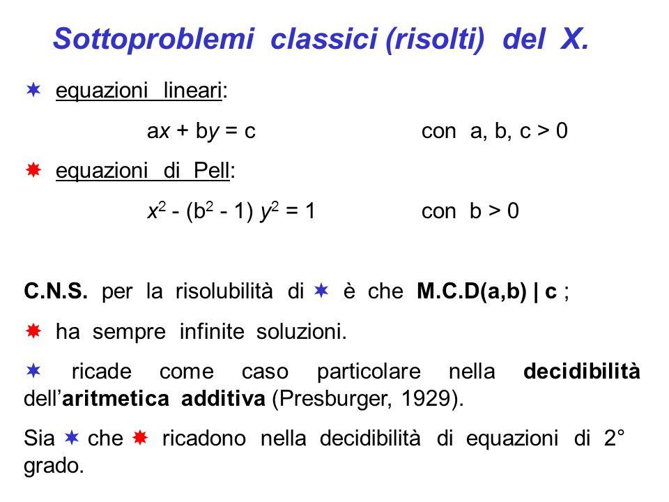 Sottoproblemi classici (risolti) del X. equazioni lineari: ax + by = c con a, b, c > 0 equazioni di Pell: x 2 - (b 2 - 1) y 2 = 1 con b > 0 C.N.S. per