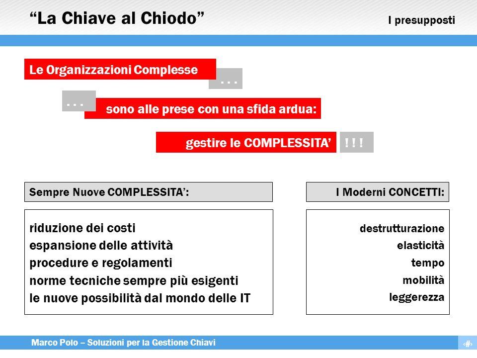 3 Marco Polo – Soluzioni per la Gestione Chiavi riduzione dei costi espansione delle attività procedure e regolamenti norme tecniche sempre più esigen