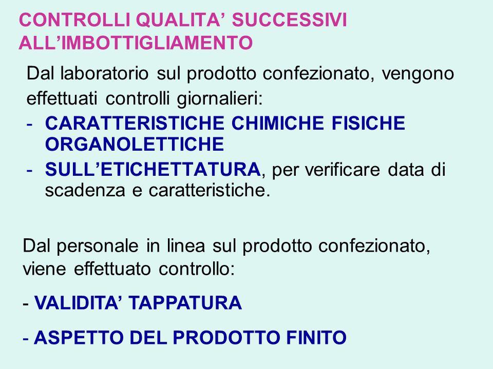 CONTROLLI QUALITA SUCCESSIVI ALLIMBOTTIGLIAMENTO Dal laboratorio sul prodotto confezionato, vengono effettuati controlli giornalieri: -C-CARATTERISTIC