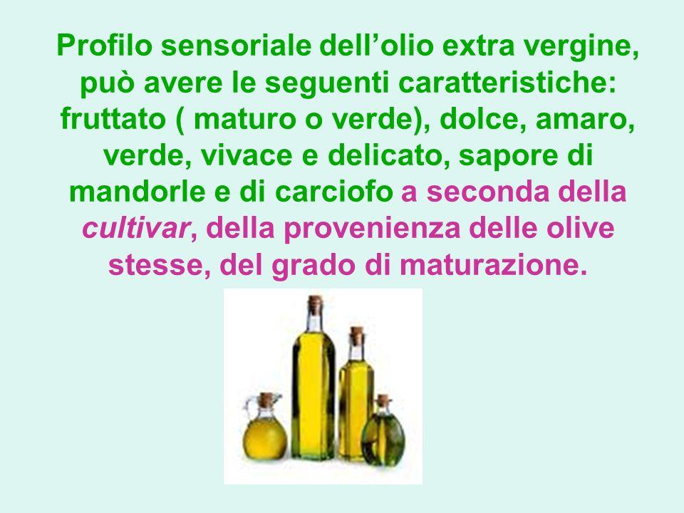 Profilo sensoriale dellolio extra vergine, può avere le seguenti caratteristiche: fruttato ( maturo o verde), dolce, amaro, verde, vivace e delicato,