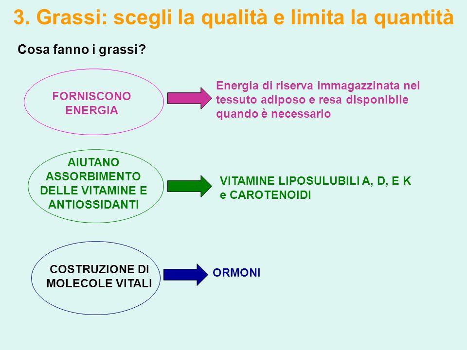 3. Grassi: scegli la qualità e limita la quantità Cosa fanno i grassi? FORNISCONO ENERGIA Energia di riserva immagazzinata nel tessuto adiposo e resa