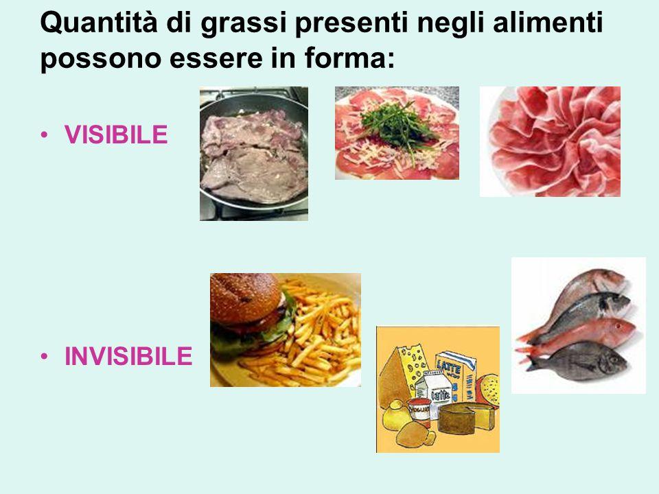 Quantità di grassi presenti negli alimenti possono essere in forma: VISIBILE INVISIBILE