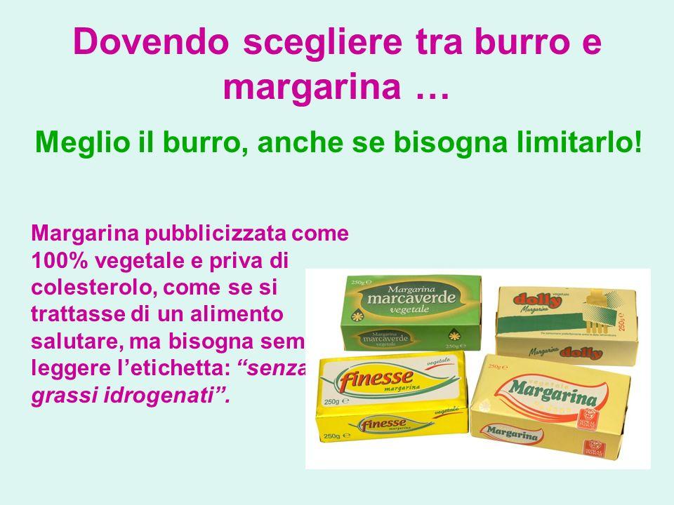 Dovendo scegliere tra burro e margarina … Meglio il burro, anche se bisogna limitarlo! Margarina pubblicizzata come 100% vegetale e priva di colestero