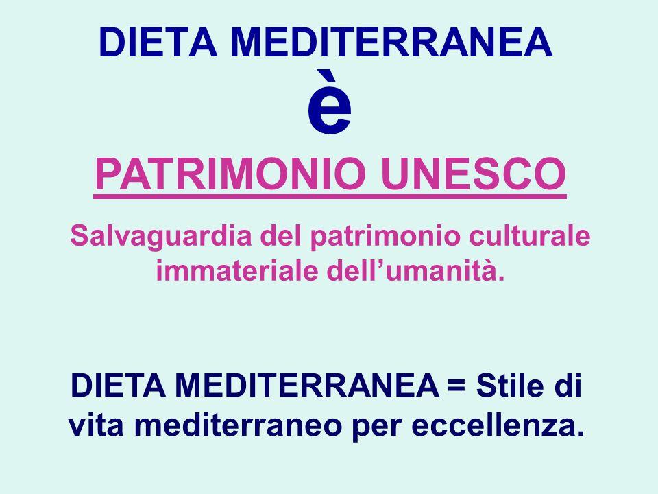 DIETA MEDITERRANEA è PATRIMONIO UNESCO Salvaguardia del patrimonio culturale immateriale dellumanità. DIETA MEDITERRANEA = Stile di vita mediterraneo