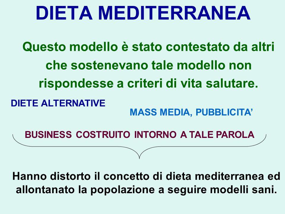 DIETA MEDITERRANEA Questo modello è stato contestato da altri che sostenevano tale modello non rispondesse a criteri di vita salutare. DIETE ALTERNATI