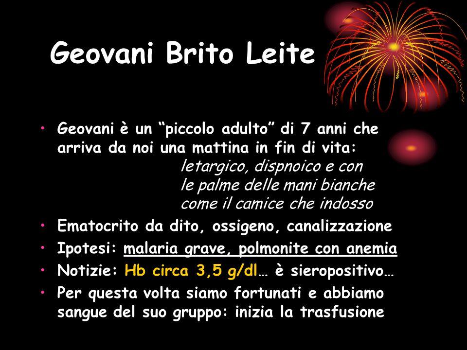 Geovani Brito Leite Geovani è un piccolo adulto di 7 anni che arriva da noi una mattina in fin di vita: letargico, dispnoico e con le palme delle mani