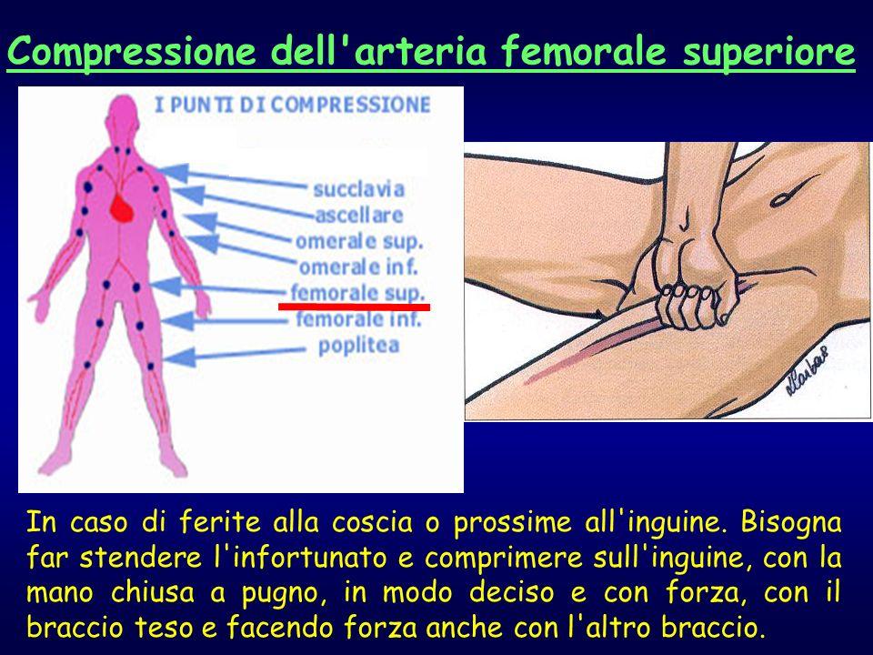 In caso di ferite alla coscia o prossime all'inguine. Bisogna far stendere l'infortunato e comprimere sull'inguine, con la mano chiusa a pugno, in mod