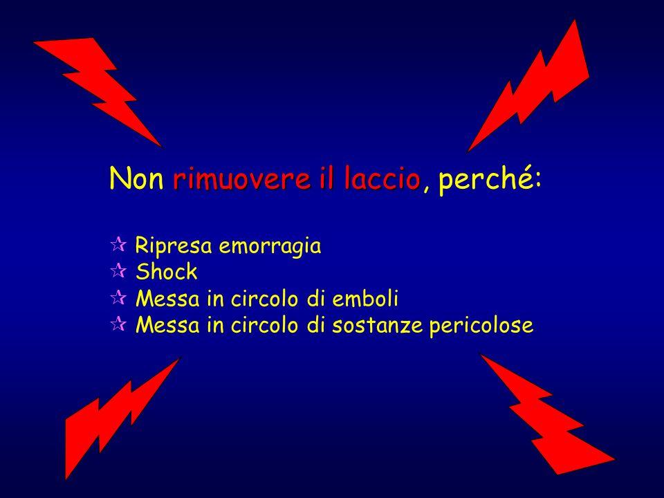 rimuovere il laccio Non rimuovere il laccio, perché: Ripresa emorragia Shock Messa in circolo di emboli Messa in circolo di sostanze pericolose