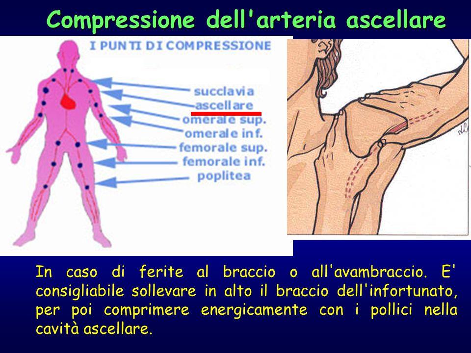 In caso di ferite al braccio o all'avambraccio. E' consigliabile sollevare in alto il braccio dell'infortunato, per poi comprimere energicamente con i