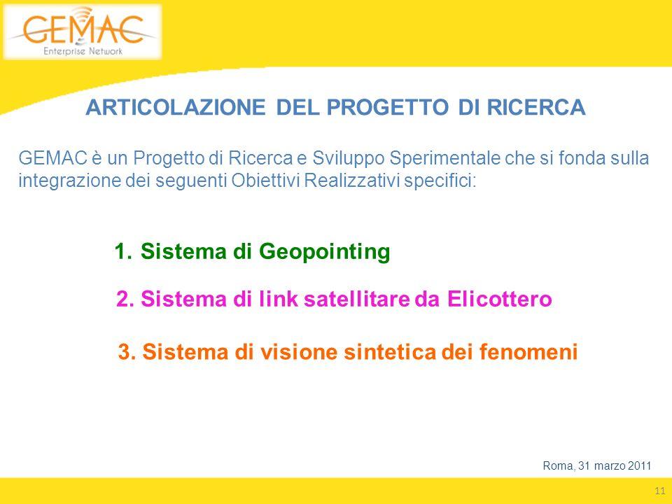 11 Roma, 31 marzo 2011 1.Sistema di Geopointing 3. Sistema di visione sintetica dei fenomeni 2. Sistema di link satellitare da Elicottero ARTICOLAZION