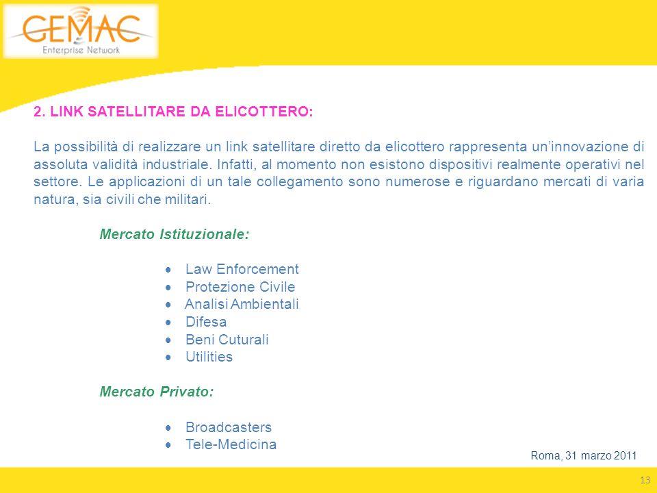 13 Roma, 31 marzo 2011 2. LINK SATELLITARE DA ELICOTTERO: La possibilità di realizzare un link satellitare diretto da elicottero rappresenta uninnovaz