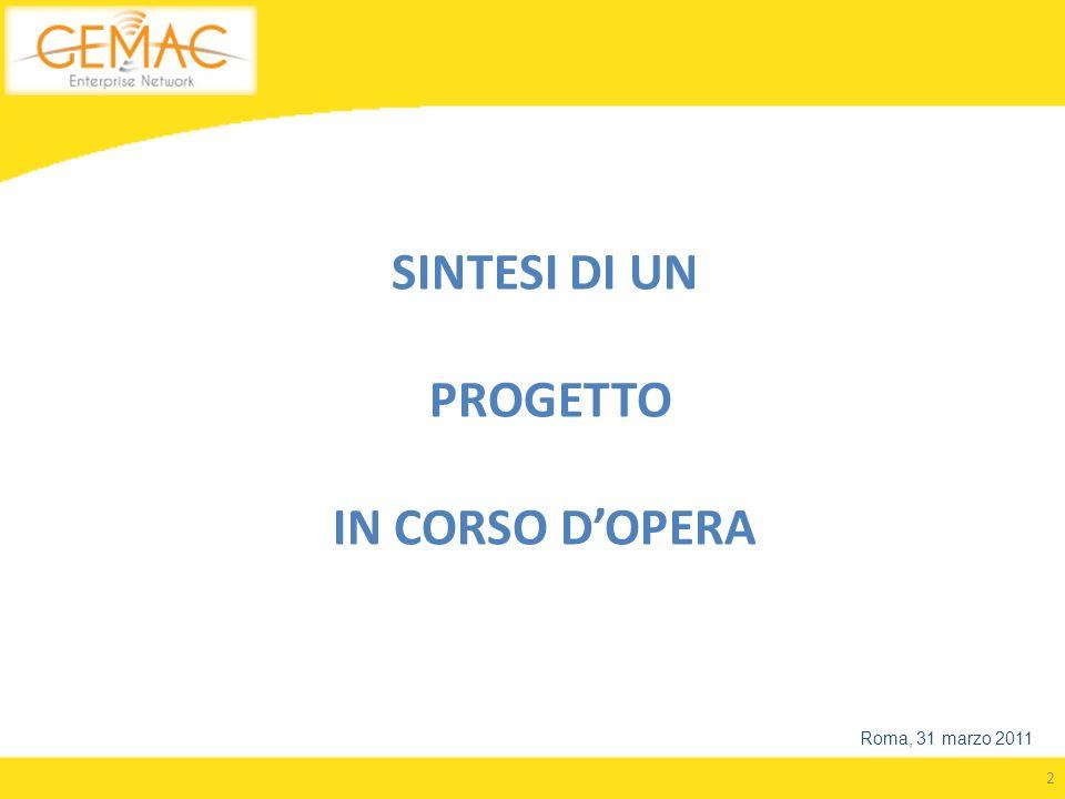 2 SINTESI DI UN PROGETTO IN CORSO DOPERA Roma, 31 marzo 2011