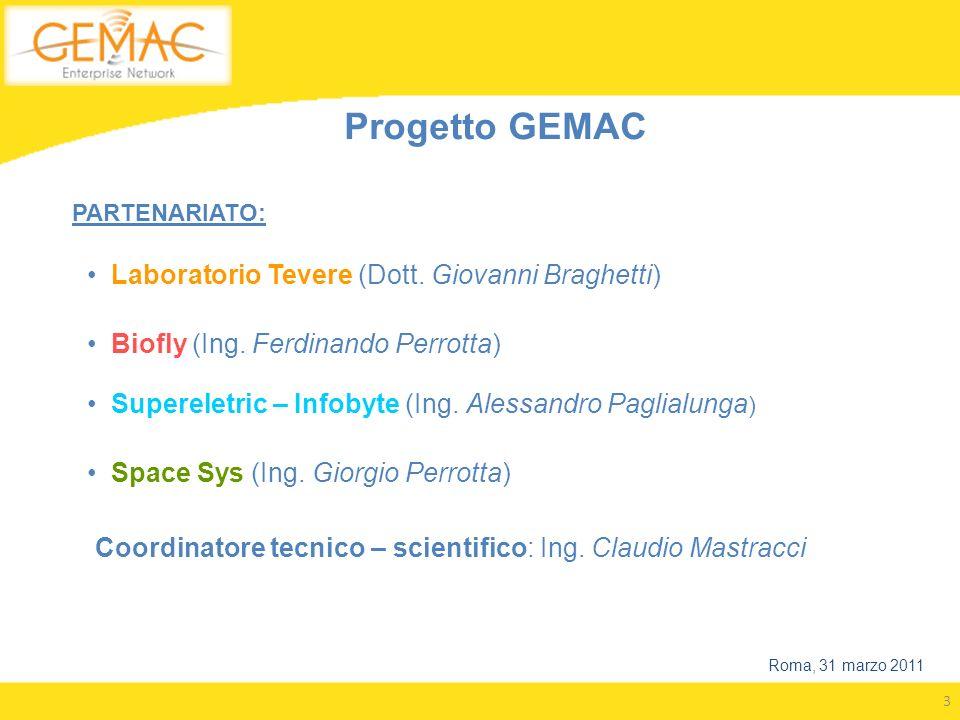 3 Progetto GEMAC PARTENARIATO: Laboratorio Tevere (Dott. Giovanni Braghetti) Biofly (Ing. Ferdinando Perrotta) Supereletric – Infobyte (Ing. Alessandr