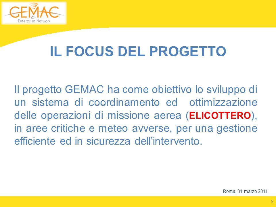 5 IL FOCUS DEL PROGETTO Il progetto GEMAC ha come obiettivo lo sviluppo di un sistema di coordinamento ed ottimizzazione delle operazioni di missione