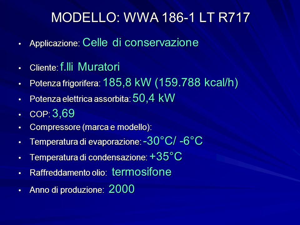 MODELLO: WWA 186-1 LT R717 Applicazione: Celle di conservazione Applicazione: Celle di conservazione Cliente: f.lli Muratori Cliente: f.lli Muratori Potenza frigorifera: 185,8 kW (159.788 kcal/h) Potenza frigorifera: 185,8 kW (159.788 kcal/h) Potenza elettrica assorbita: 50,4 kW Potenza elettrica assorbita: 50,4 kW COP: 3,69 COP: 3,69 Compressore (marca e modello): Compressore (marca e modello): Temperatura di evaporazione: -30°C/ -6°C Temperatura di evaporazione: -30°C/ -6°C Temperatura di condensazione: +35°C Temperatura di condensazione: +35°C Raffreddamento olio: termosifone Raffreddamento olio: termosifone Anno di produzione: 2000 Anno di produzione: 2000