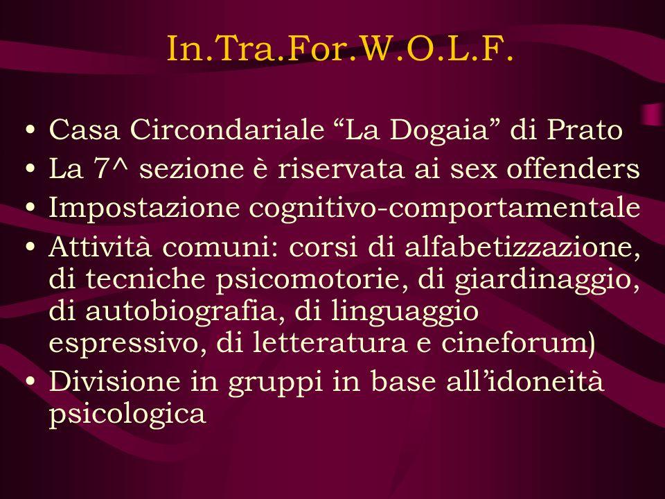 In.Tra.For.W.O.L.F. Casa Circondariale La Dogaia di Prato La 7^ sezione è riservata ai sex offenders Impostazione cognitivo-comportamentale Attività c