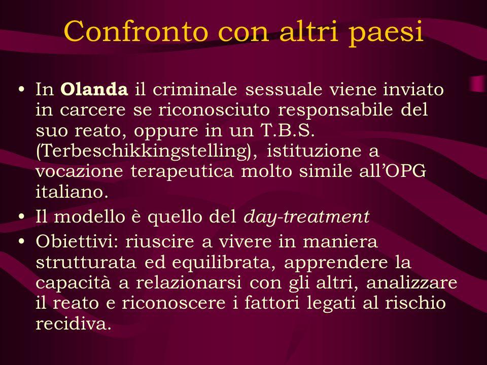 Confronto con altri paesi In Olanda il criminale sessuale viene inviato in carcere se riconosciuto responsabile del suo reato, oppure in un T.B.S. (Te
