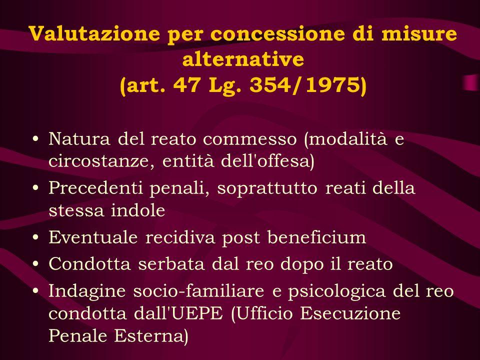 Valutazione per concessione di misure alternative (art. 47 Lg. 354/1975) Natura del reato commesso (modalità e circostanze, entità dell'offesa) Preced