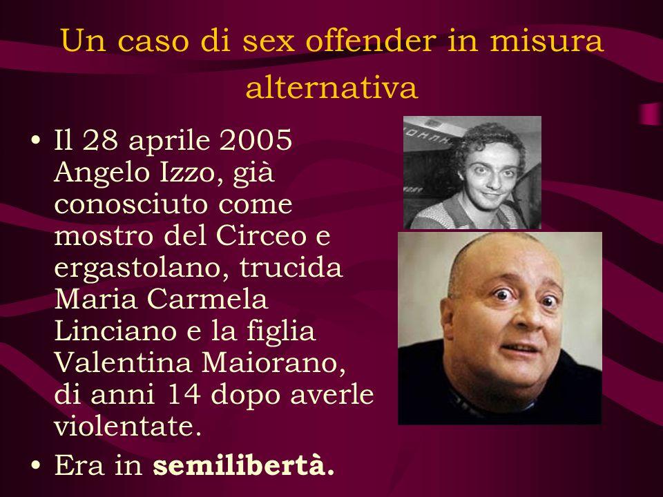 Un caso di sex offender in misura alternativa Il 28 aprile 2005 Angelo Izzo, già conosciuto come mostro del Circeo e ergastolano, trucida Maria Carmel