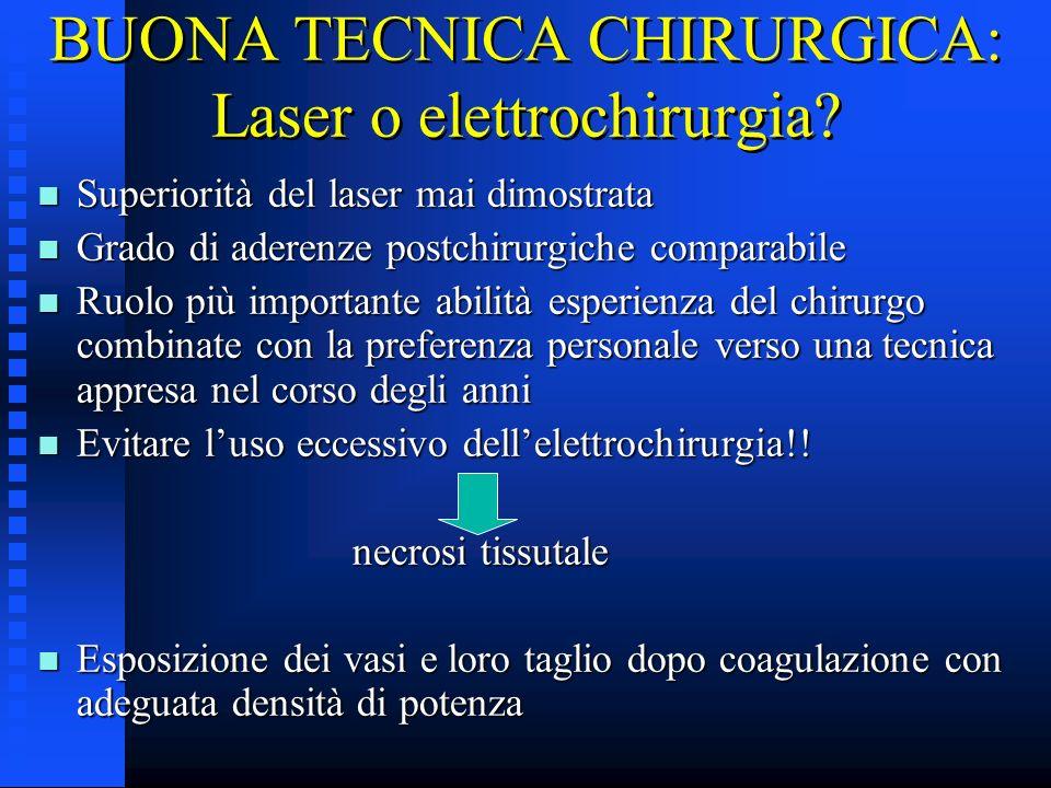 BUONA TECNICA CHIRURGICA: Laser o elettrochirurgia? n Superiorità del laser mai dimostrata n Grado di aderenze postchirurgiche comparabile n Ruolo più