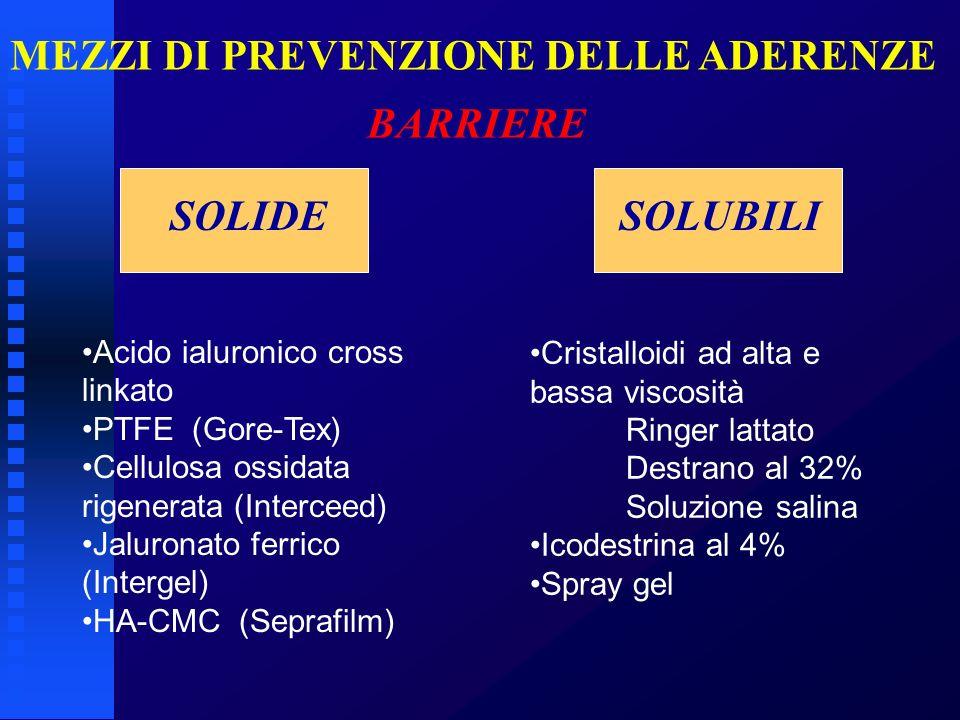 MEZZI DI PREVENZIONE DELLE ADERENZE BARRIERE SOLIDE SOLUBILI Acido ialuronico cross linkato PTFE (Gore-Tex) Cellulosa ossidata rigenerata (Interceed)