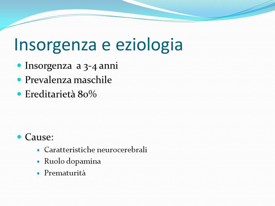 Insorgenza e eziologia Insorgenza a 3-4 anni Prevalenza maschile Ereditarietà 80% Cause: Caratteristiche neurocerebrali Ruolo dopamina Prematurità