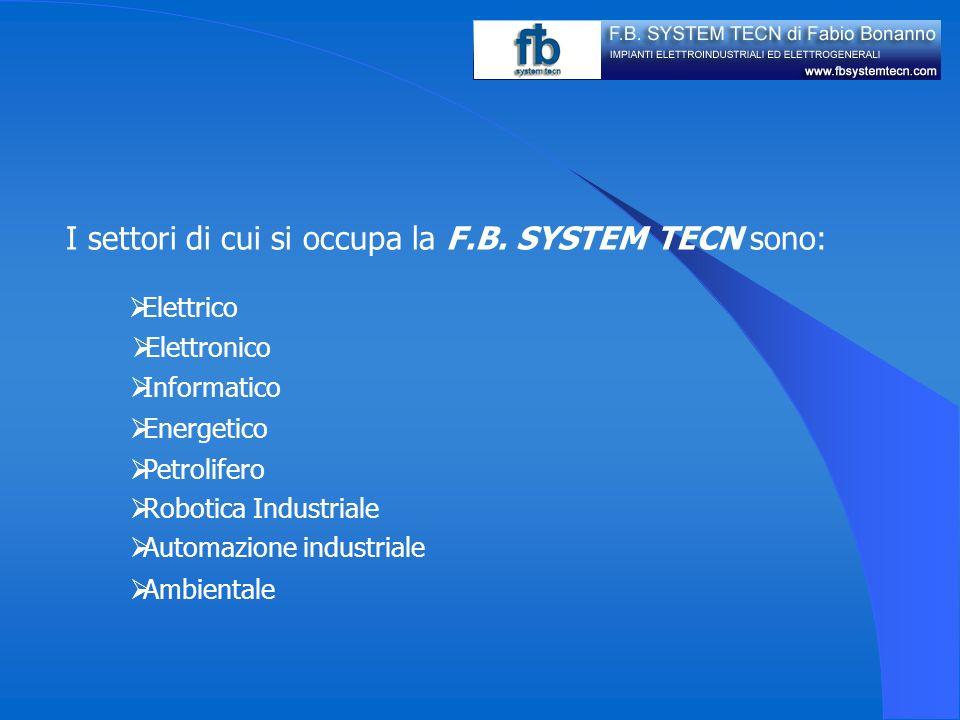 I settori di cui si occupa la F.B. SYSTEM TECN sono: Elettrico Elettronico Informatico Energetico Automazione industriale Robotica Industriale Ambient