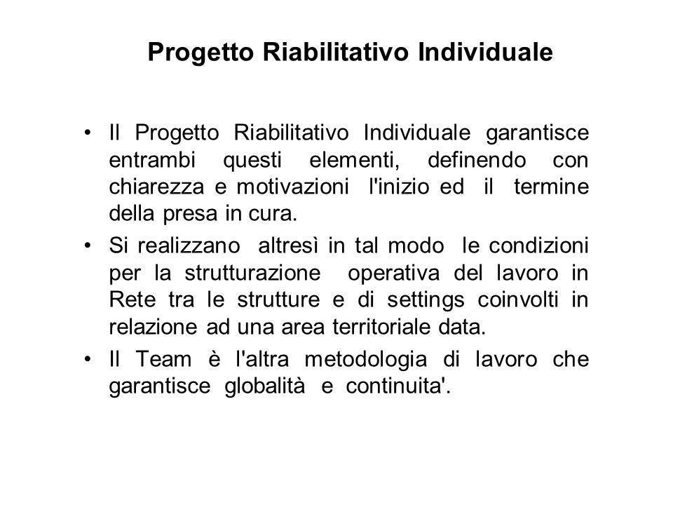 Progetto Riabilitativo Individuale Il Progetto Riabilitativo Individuale garantisce entrambi questi elementi, definendo con chiarezza e motivazioni l'