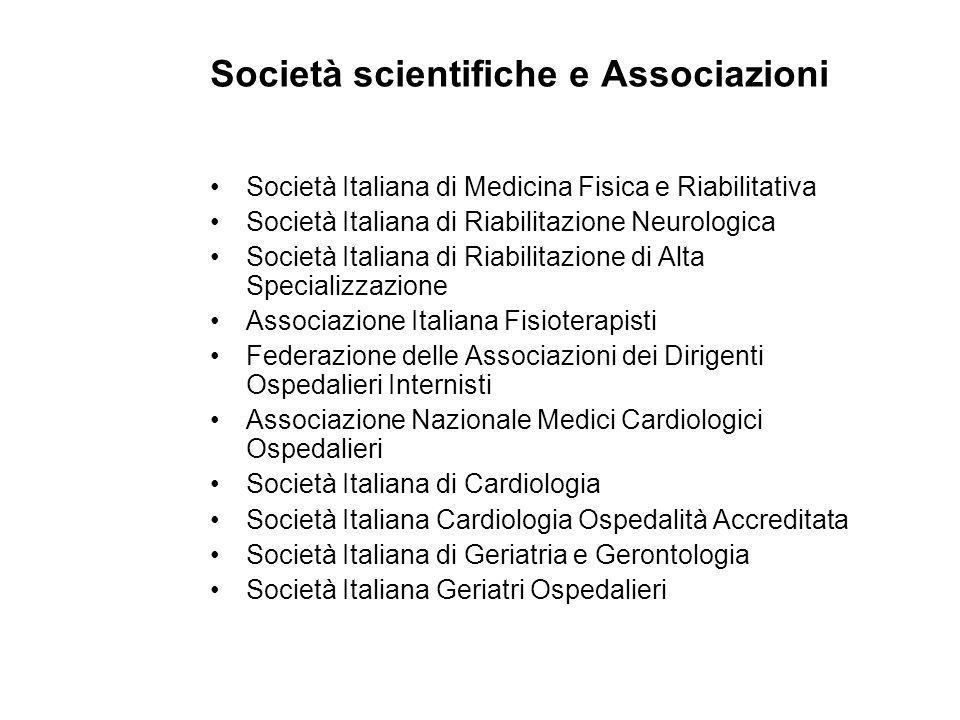 Società scientifiche e Associazioni Società Italiana di Medicina Fisica e Riabilitativa Società Italiana di Riabilitazione Neurologica Società Italian
