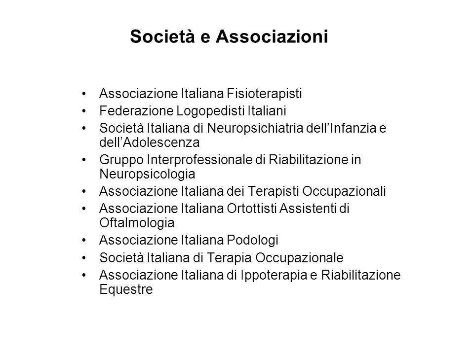 Società e Associazioni Associazione Italiana Fisioterapisti Federazione Logopedisti Italiani Società Italiana di Neuropsichiatria dellInfanzia e dellA