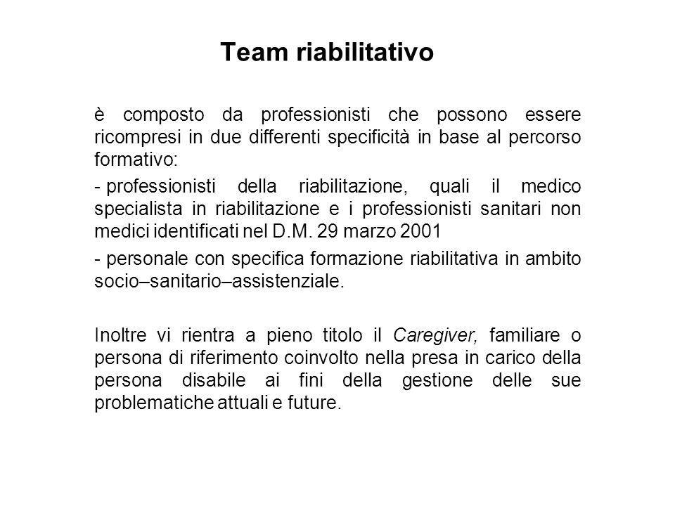 Team riabilitativo è composto da professionisti che possono essere ricompresi in due differenti specificità in base al percorso formativo: - professio
