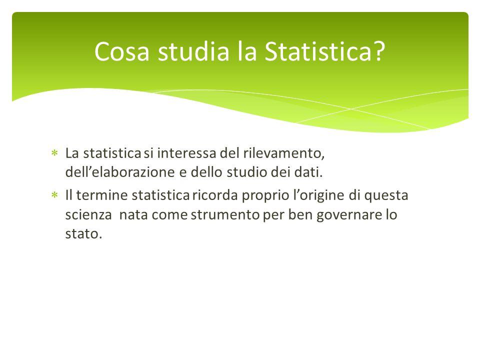 La statistica si interessa del rilevamento, dellelaborazione e dello studio dei dati. Il termine statistica ricorda proprio lorigine di questa scienza