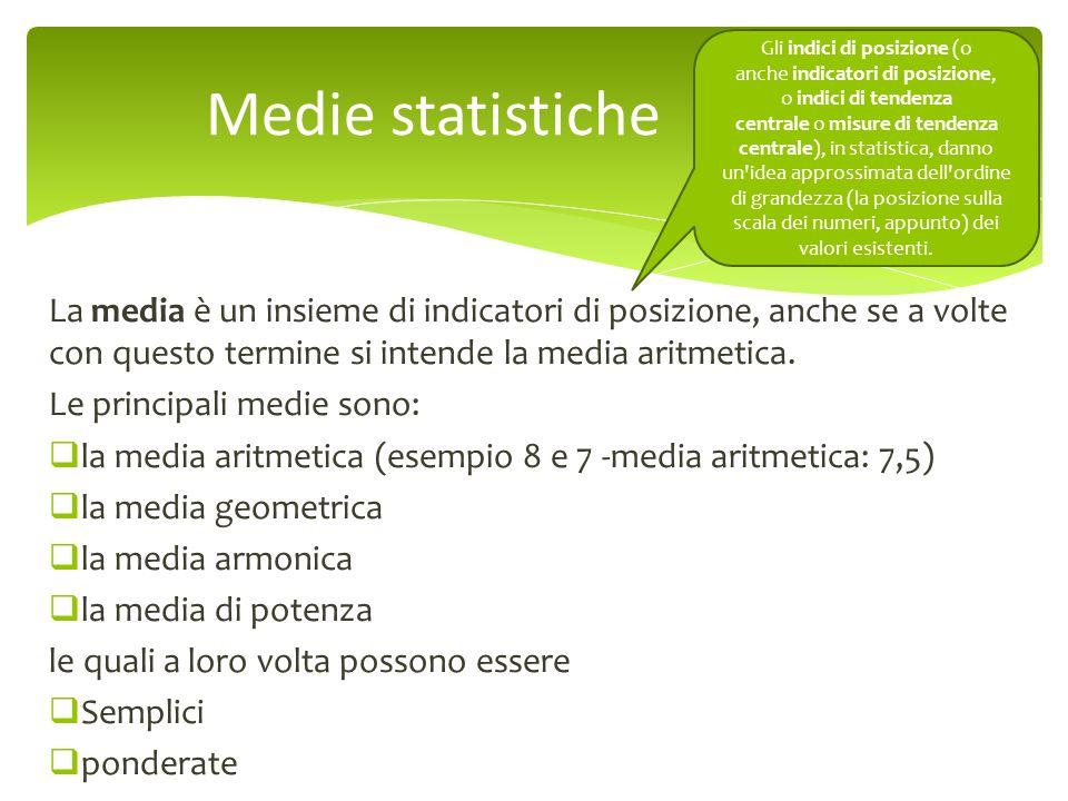 La media è un insieme di indicatori di posizione, anche se a volte con questo termine si intende la media aritmetica. Le principali medie sono: la med