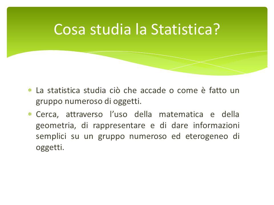 La statistica studia ciò che accade o come è fatto un gruppo numeroso di oggetti. Cerca, attraverso luso della matematica e della geometria, di rappre
