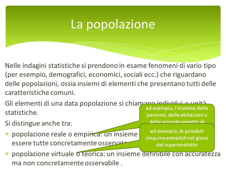 Nelle indagini statistiche si prendono in esame fenomeni di vario tipo (per esempio, demografici, economici, sociali ecc.) che riguardano delle popola