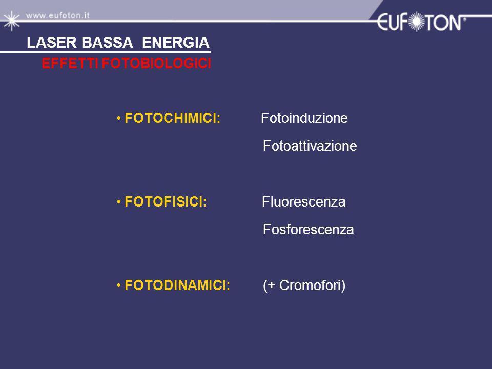 EFFETTI FOTOBIOLOGICI LASER BASSA ENERGIA FOTOCHIMICI: Fotoinduzione Fotoattivazione FOTOFISICI: Fluorescenza Fosforescenza FOTODINAMICI: (+ Cromofori