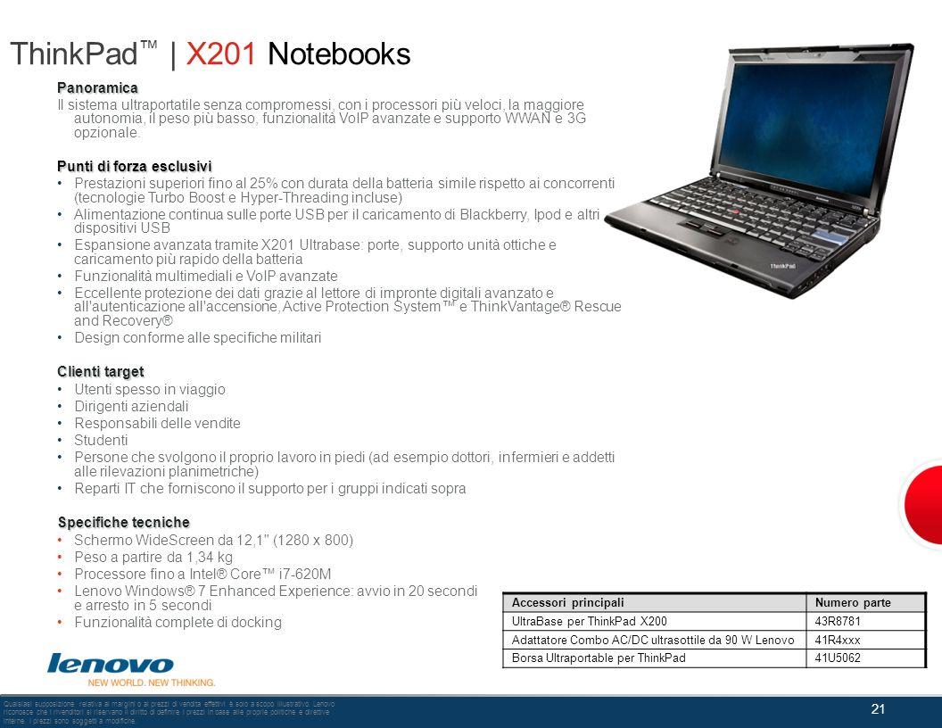 ThinkPad | X201 Notebooks Panoramica Il sistema ultraportatile senza compromessi, con i processori più veloci, la maggiore autonomia, il peso più bass