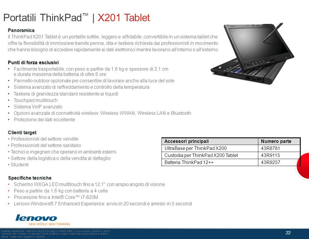 Portatili ThinkPad | X201 Tablet 22 Qualsiasi supposizione relativa ai margini o ai prezzi di vendita effettivi è solo a scopo illustrativo. Lenovo ri