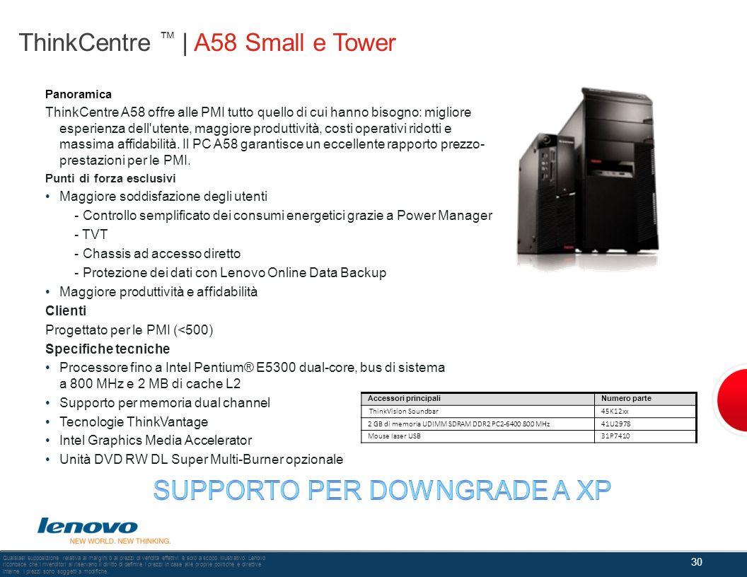 ThinkCentre | A58 Small e Tower Panoramica ThinkCentre A58 offre alle PMI tutto quello di cui hanno bisogno: migliore esperienza dell'utente, maggiore