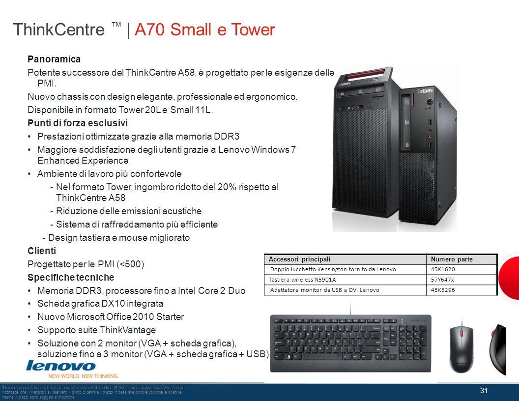 ThinkCentre | A70 Small e Tower 31 Qualsiasi supposizione relativa ai margini o ai prezzi di vendita effettivi è solo a scopo illustrativo. Lenovo ric