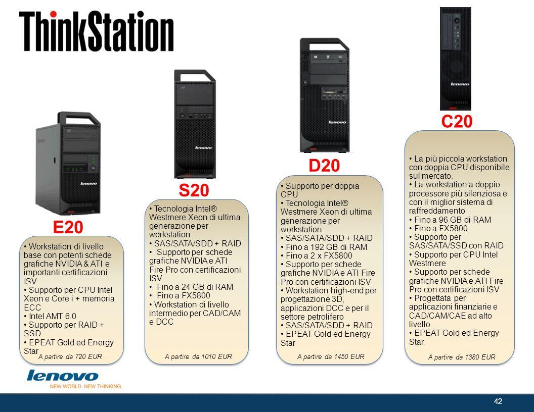 42 E20 S20 D20 C20 A partire da 720 EURA partire da 1010 EUR A partire da 1450 EUR A partire da 1380 EUR Workstation di livello base con potenti sched