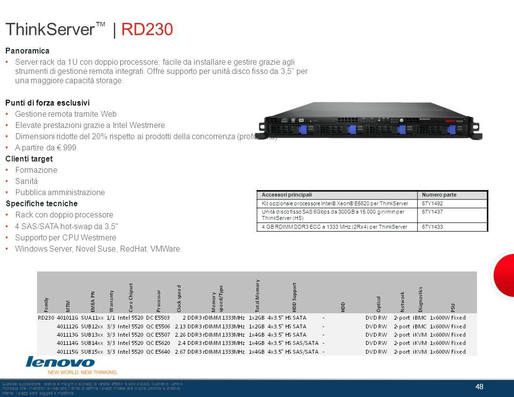 ThinkServer | RD230 Panoramica Server rack da 1U con doppio processore, facile da installare e gestire grazie agli strumenti di gestione remota integr